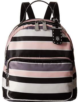 Tommy Hilfiger Julia Dome Backpack Nylon Victory Stripe Backpack Bags