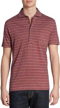 Luciano Barbera Men's Striped Cotton Polo - Pink, Size x-large