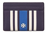 Tory Burch Foundation Striped Slim Card Case - NAVY BLUE - STYLE