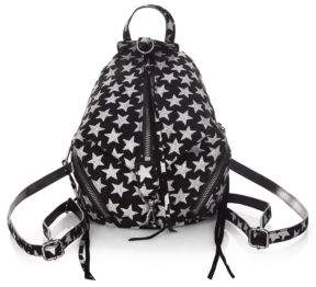 Rebecca Minkoff Glitter Stars Convertible Mini Julian Suede Backpack - BLACK - STYLE