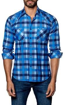 Jared Lang Pattern Woven Trim Fit Shirt
