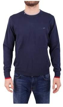 Sun 68 Men's Blue Cotton Sweater.