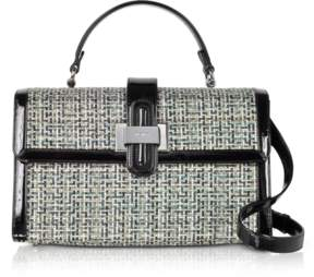 Rodo Tweed and Patent leather Top Handle Satchel Bag