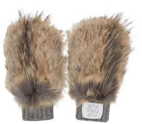Stella McCartney Brown and Grey Faux-Fur Mittens