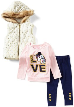 Flapdoodles Little Girls 2T-6X Foiled-Heart Hooded Vest, Graphic Tee & Leggings Set