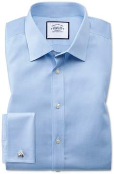 Charles Tyrwhitt Classic Fit Non-Iron Puppytooth Sky Blue Cotton Dress Shirt French Cuff Size 15/33