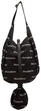 J.W.Anderson Logo Print Knot Canvas Hobo Bag - Womens - Black Multi