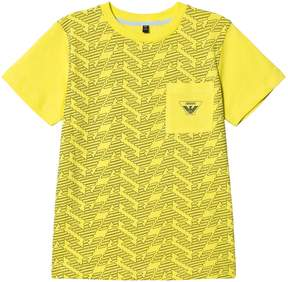 Armani Junior Yellow Eagle Branded Front Pocket T-Shirt
