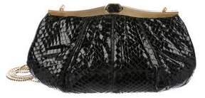 Judith Leiber Snakeskin Frame Shoulder Bag