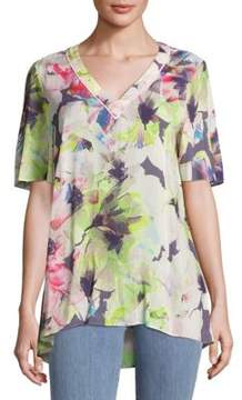 Basler Short-Sleeve Floral Top