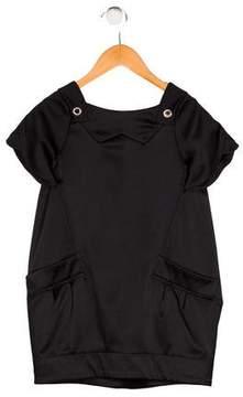 Little Marc Jacobs Girls' Satin Short Sleeve Dress