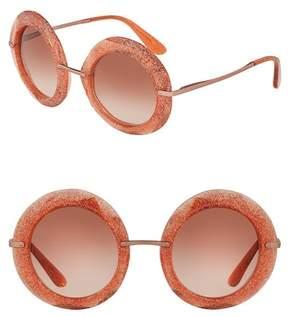 Dolce & Gabbana Glitter 50mm Round Sunglasses