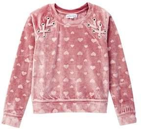 Ten Sixty Sherman Heart Lace-Up Grommet Velvet Sweatshirt (Big Girls)