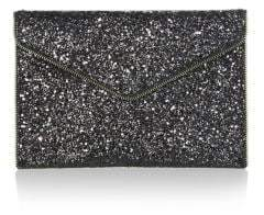 Rebecca Minkoff Glitter Coated Leather Leo Clutch - BLACK-MULTI - STYLE