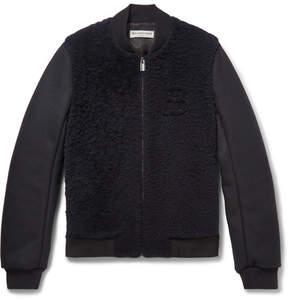 Balenciaga Shearling-Panelled Wool-Blend Bomber Jacket