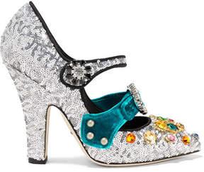 Dolce & Gabbana - Embellished Velvet-trimmed Sequined Mary Jane Pumps - Silver