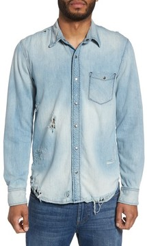 Hudson Men's Weston Slim Fit Destructed Denim Shirt