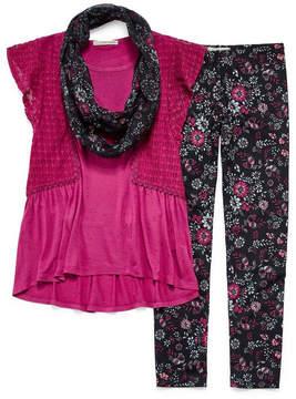 Self Esteem SE Crochet Flutter Sleeve Legging Set w/ Scarf - Girls' 7-16