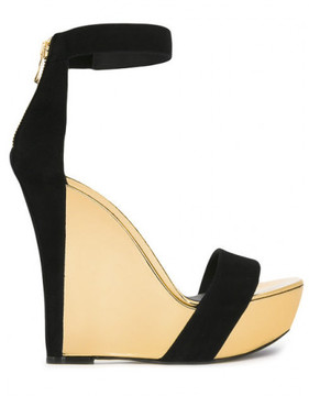 Balmain Suede and mirrored-leather wedge sandals