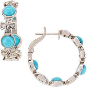 Elizabeth Showers Turquoise & Sapphire Maltese Hoop Earrings