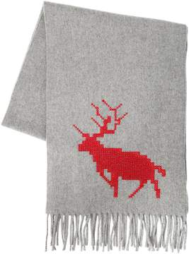 DSQUARED2 Deer Embroidered Wool & Cashmere Scarf