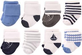 Hudson Baby Blue Nautical Eight-Pair Socks Set - Infant