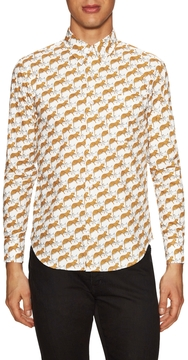 Naked & Famous Denim Men's Regular Cheetah Print Sportshirt