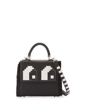Les Petits Joueurs Mini Alex Eyes Fringe Shoulder Bag, Black/White