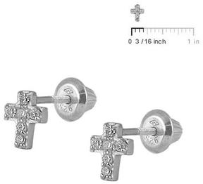 Ice Kids' Jewelry Sterling Silver C.Z. Cross Girls' Screw Back Earrings