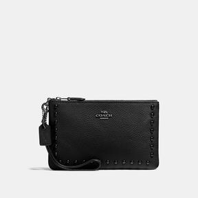 COACH Coach Small Wristlet With Lacquer Rivets - BLACK ANTIQUE NICKEL/BLACK - STYLE