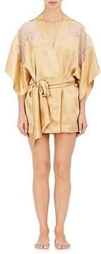 Carine Gilson Women's Lace-Inset Silk Satin Kimono Robe