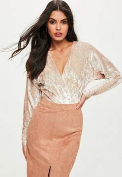 Missguided Nude Crushed Velvet Wrap Front Bodysuit