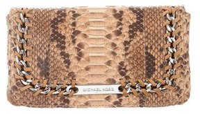 Michael Kors Chain-Link Python Clutch - BROWN - STYLE