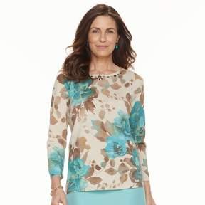 Alfred Dunner Women's Studio Embellished Floral Sweater