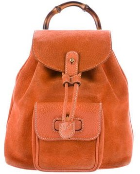 Gucci Suede Mini Bamboo Backpack - ORANGE - STYLE