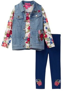 Betsey Johnson Floral Top, Denim Vest, & Legging Set (Little Girls)