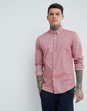Farah Steen Slim Fit Textured Oxford Shirt in Red