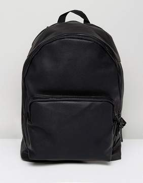 Asos Backpack In Black Faux Leather With Internal Laptop Pouch