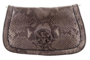 Tory Burch Embossed Amanda Clutch - BROWN - STYLE