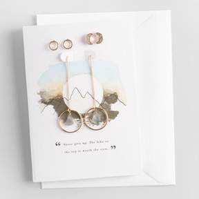 World Market Gold and Labradorite Earrings Gift Set with Greeting Card
