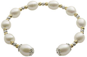 Brilliance+ FINE JEWELRY Cultured Freshwater Rice Pearl & 2-Tone Brilliance Bead Coil Bracelet