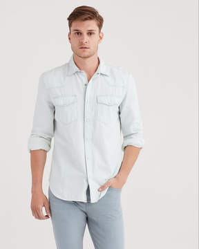 7 For All Mankind Long Sleeve Denim Western Shirt In Off Limits