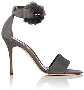 Manolo Blahnik Women's Trespola Suede & Fur Sandals