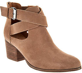 Sole Society As Is Suede Cross-Strap Ankle Boots - Azure