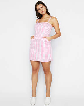 Express Gingham Clean Fit And Flare Cami Dress