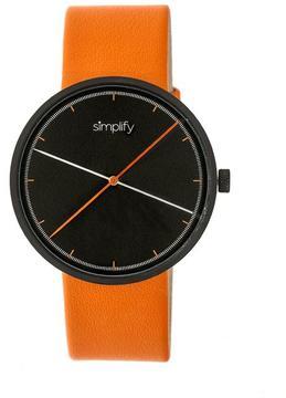 Simplify The 4100 SIM4103 Black and Orange Leather Analog Watch