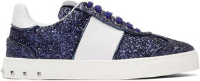 Valentino Blue and White Garavani Glitter Flycrew Rockstud Sneakers