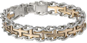 JCPenney FINE JEWELRY Mens Stainless Steel and Gold Ion Plated Cross Link Bracelet