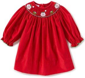 Edgehill Collection Baby Girls 3-24 Months Christmas Smocked Santa Dress