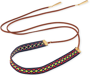 Fragments for Neiman Marcus Woven Wraparound Choker Lariat Necklace, Brown Multi
